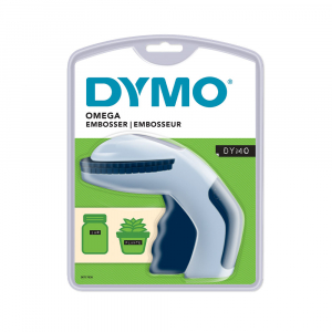 Dymo Omega labeling machine set and a total of 4 rolls of Omega labels, DY127482
