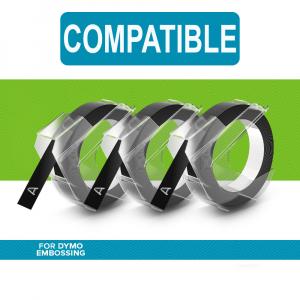 Etichete plastic embosabile Compatibile cu Omega, 9mmx3m, negru, 3 buc/set0