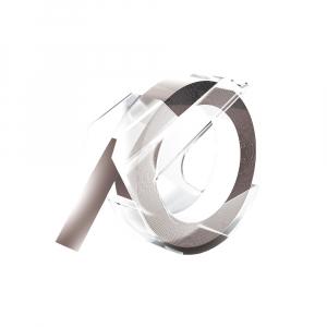 Etichete plastic embosabile compatibile Omega, 9mmx3m, argintii, A5201040
