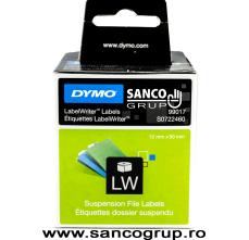 Etichete termice, DYMO LabelWriter, dosare suspendate, permanente, 12mmx50mm, hartie alba, 1 rola/cutie, 220 etichete/rola, 99017 S07224606