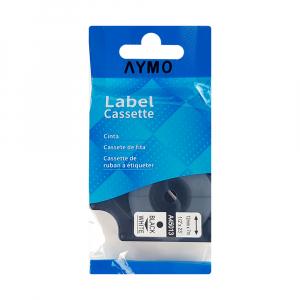 Etichete autocolante compatibile, 12mm x 7m, negru/alb, 45013 S0720530-C8