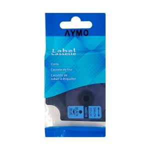 Etichete autocolante compatibile, 12mm x 7m, negru/albastru, 45016 S0720560-C10