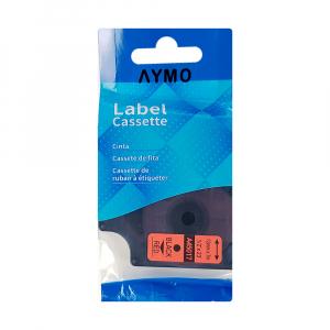 Etichete autocolante compatibile, 12mm x 7m, negru/rosu 45017 S0720570-C9