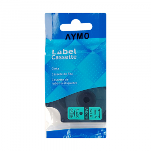 Etichete autocolante compatibile, 12mm x 7m, negru/verde 45019 S0720590-C6