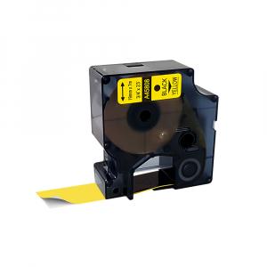 Etichete autocolante compatibile, 19mm x 7m, negru/galben, 45808 S0720880-C0