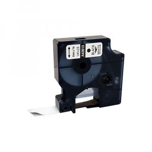 Etichete autocolante compatibile, 6mm x 7m, negru/alb, 436130