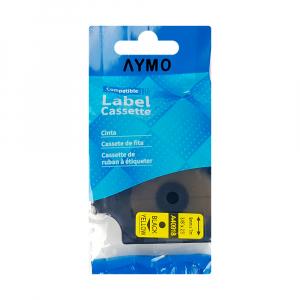 Etichete autocolante compatibile, 9mm x 7m, negru/galben, 40918 S0720730-C S0720790-C3