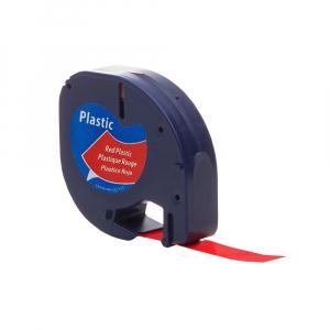 Etichete compatibile DYMO LetraTag 12mmx4m, plastic, rosu, 91203 DY912030