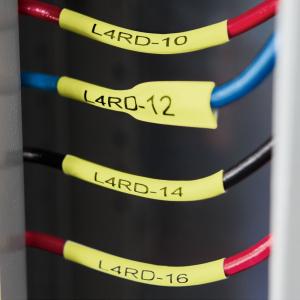 Etichete compatibile tub termocontractibil, DYMO ID1, 6mm x 1.5m, negru/galben, 180522