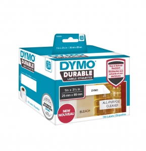 DYMO LabelWriter Durable thermal labels, 25mmx89mm, polypropylene white, 1 roll/box, 700 labels/roll, 19330814