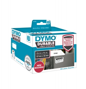 Etichete termice industriale, DYMO LabelWriter Durable, multifunctionale medii, 57mmx32mm, polipropilena alba, 1 rola/cutie, 800 etichete/rola, 1933084.5