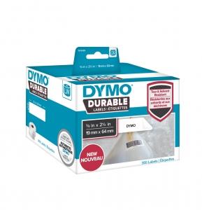 Etichete termice industriale, DYMO LabelWriter Durable, coduri de bare, 19mmx64mm, polipropilena alba, 1 rola/cutie, 900 etichete/rola, 19330855