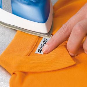Etichete haine compatibile Dymo LetraTag Iron-On 12mmx2m, negru pe alb, 18769 DY187682