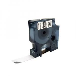 Etichete industriale autocolante compatibile, DYMO ID1, poliester permanent, 12mm x 5.5m, negru/alb, 18483 18483-C0