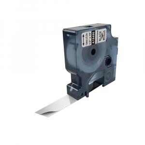 Etichete industriale autocolante compatibile, DYMO ID1, poliester permanent, 12mm x 5.5m, negru/argintiu, 184860
