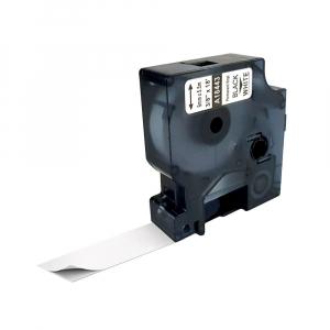 Etichete industriale autocolante compatibile vinil, 9mm x 5.5m, negru/alb, S0718580-C 184430