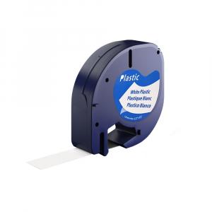 Etichete plastic autocolante, compatibile 12mmx4m, albe, A 91201 S0721610-C S0721660-C0