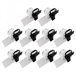 Etichete termice autocolante compatibile, Brother DK-22205, hartie alba, modul continuu, 62mmx30.48m, suport din plastic inclus. 10 role / set0