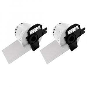 Etichete termice autocolante compatibile, Brother DK-22205, hartie alba, modul continuu, 62mmx30.48m, suport din plastic inclus. 2 role / set0