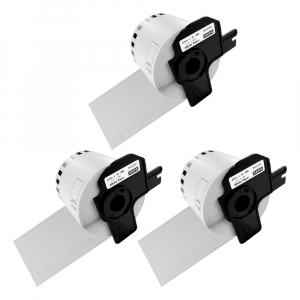 Etichete termice autocolante compatibile, Brother DK-22205, hartie alba, modul continuu, 62mmx30.48m, suport din plastic inclus. 3 role / set0
