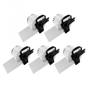 Etichete termice autocolante compatibile, Brother DK-22205, hartie alba, modul continuu, 62mmx30.48m, suport din plastic inclus. 5 role / set0