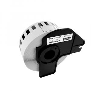 Etichete termice autocolante compatibile, Brother DK-22210, hartie alba, modul continuu, 29mmx30.48m, suport din plastic inclus. 2 role / set4