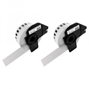 Etichete termice autocolante compatibile, Brother DK-22210, hartie alba, modul continuu, 29mmx30.48m, suport din plastic inclus. 2 role / set0