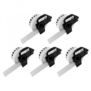 Etichete termice autocolante compatibile, Brother DK-22210, hartie alba, modul continuu, 29mmx30.48m, suport din plastic inclus. 5 role / set0