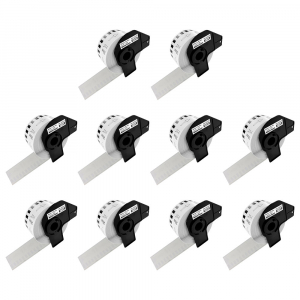 Etichete termice autocolante compatibile, Brother DK-22225, hartie alba, modul continuu, 38mmx30.48m, suport din plastic inclus DK22225, 10 role/set0