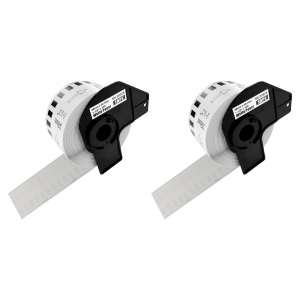 Etichete termice autocolante compatibile, Brother DK-22225, hartie alba, modul continuu, 38mmx30.48m, suport din plastic inclus DK22225, 2 role/set0