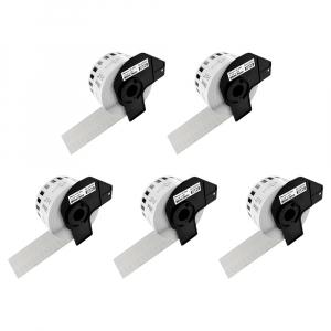 Etichete termice autocolante compatibile, Brother DK-22225, hartie alba, modul continuu, 38mmx30.48m, suport din plastic inclus DK22225, 5 role/set0