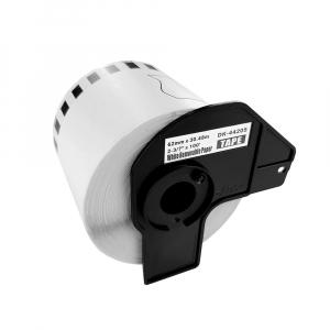 Etichete termice autocolante compatibile, Brother DK-44205, hartie alba, modul continuu, repozitionabile, 62mmx30.48m, suport din plastic inclus DK44205-C3
