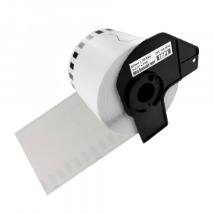 Etichete termice autocolante compatibile, Brother DK-44205, hartie alba, modul continuu, repozitionabile, 62mmx30.48m, suport din plastic inclus DK44205-C0