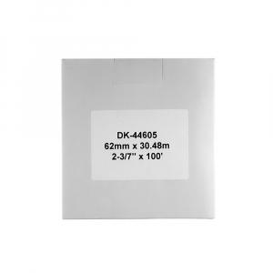 Etichete termice autocolante compatibile, Brother DK-44605, hartie galbena, modul continuu, repozitionabile, 62mmx30.48m, 3 role / set, suport din plastic inclus DK44605-C4