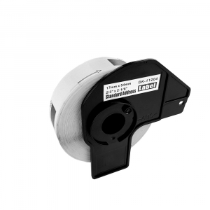 Etichete termice universale compatibile Brother DK-11204, 17mm x 54mm, hartie alba, adeziv permanent, 400 etichete/rola, suport din plastic inclus DK112024