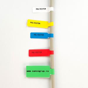 Etichete stegulet F pentru cabluri 30 x 45mm + 50mm albastru, poliester, pentru imprimanta M110/M200, 80 buc/rola2