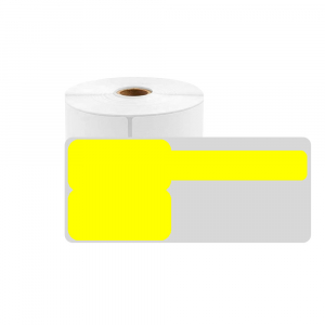 F-label tags for cables 25 x 30mm + 40mm yellow, polypropilene, for printers M110/M200, 100 pcs/roll0