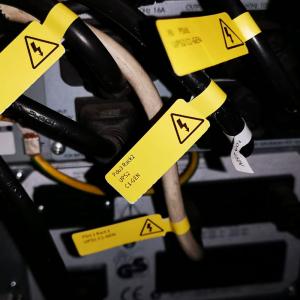 Etichete stegulet F pentru cabluri 25 x 30mm + 40mm galben, polipropilena, pentru imprimanta M110/M200, 100 buc/rola7