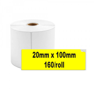 Etichete termice biblioraft 20 x 100 mm, plastic galben, permanente, 1 rola, 160 etichete/rola, pentru imprimanta M110 si M2000