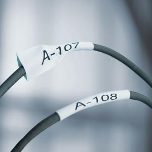 Etichete tub termocontractibil compatibile, DYMO ID1, 19mm x 1.5m, negru/alb, 180573