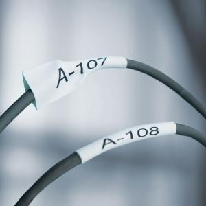 Etichete tub termocontractibil, DYMO ID1, 19mm x 1.5m, negru/alb, 18057, S0718330 DY180573