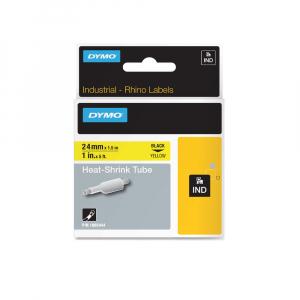 Etichete tub termocontractibil, DYMO ID1, 24mm x 1.5m, negru/galben, 1805444, S07183405