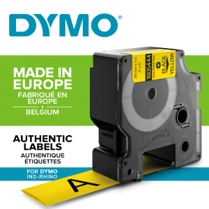Etichete tub termocontractibil, DYMO ID1, 24mm x 1.5m, negru/galben, 1805444, S07183401