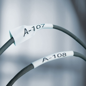 Etichete tub termocontractibil, DYMO ID1, 9mm x 1.5m, negru/alb, 18053, S0718280 DY180532