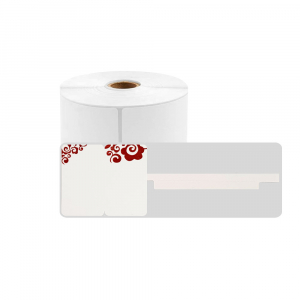Jewelry thermal labels 25 x 30mm + 45mm preprinted red floral, white polypropilene, only for AYMO M200 printer, 230 pcs/roll0