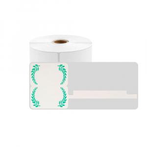 Etichete termice bijuterii 30 x 25mm + 45mm preimprimate model crengute maslin, suport plastic alb, pentru imprimanta M110/M200, 100 buc/rola0
