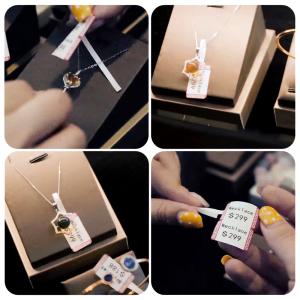 Etichete termice bijuterii 30 x 25mm + 45mm preimprimate model crengute maslin, suport plastic alb, pentru imprimanta M110/M200, 100 buc/rola5