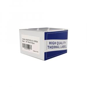 Etichete termice bijuterii 30 x 25mm + 45mm preimprimate margini rosii, suport plastic alb, pentru imprimanta M110/M200, 100 buc/rola7