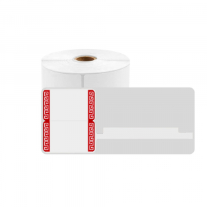 Jewelry thermal labels 30 x 25mm + 45mm preprinted red edges, white plastic, for printer M110/M200, 100 pcs/roll0