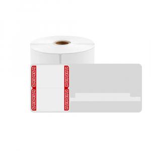 Etichete termice bijuterii 30 x 25mm + 47mm pretiparite margini rosii, plastic alb, doar pentru imprimanta AYMO M200, 230 buc/rola0